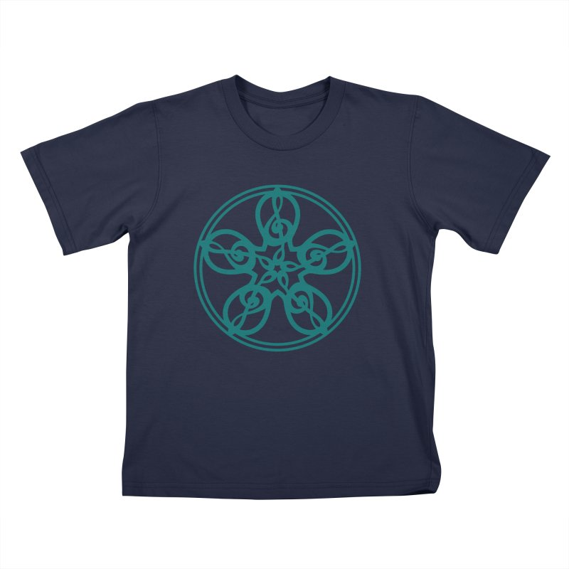 Celtic Clef Mandala (teal) Kids T-Shirt by Felix Culpa Designs