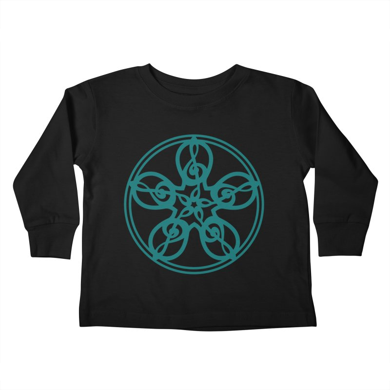 Celtic Clef Mandala (teal) Kids Toddler Longsleeve T-Shirt by Felix Culpa Designs