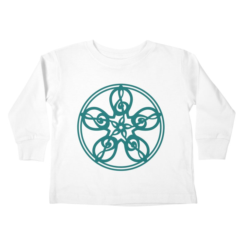 Celtic Clef Mandala (teal) Kids Toddler Longsleeve T-Shirt by Felix Culpa Designs
