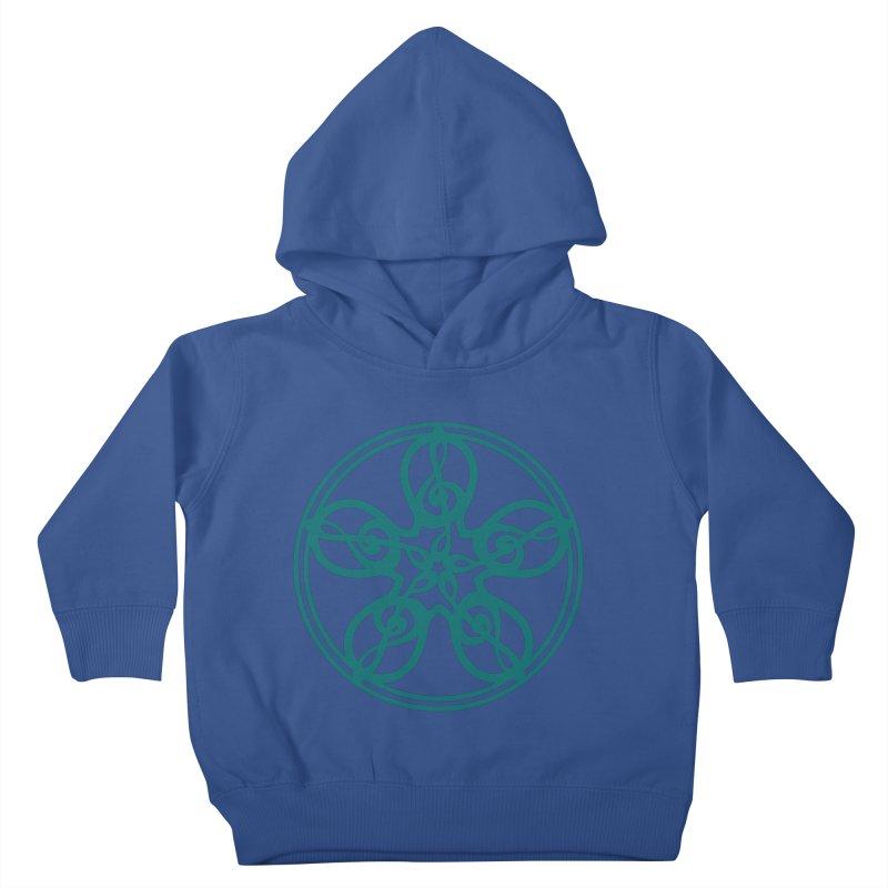 Celtic Clef Mandala (teal) Kids Toddler Pullover Hoody by Felix Culpa Designs