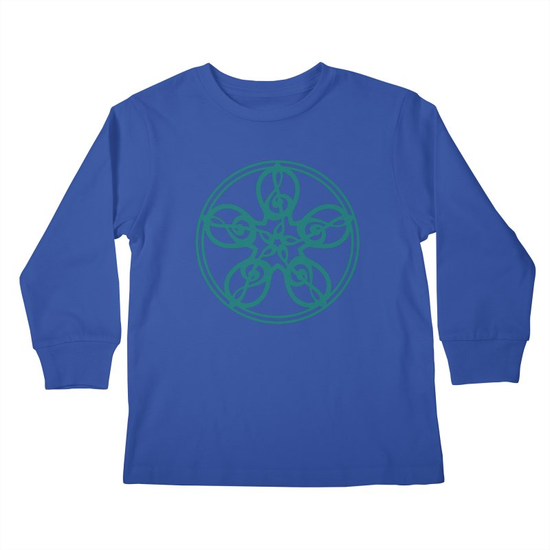 Celtic Clef Mandala (teal) Kids Longsleeve T-Shirt by Felix Culpa Designs