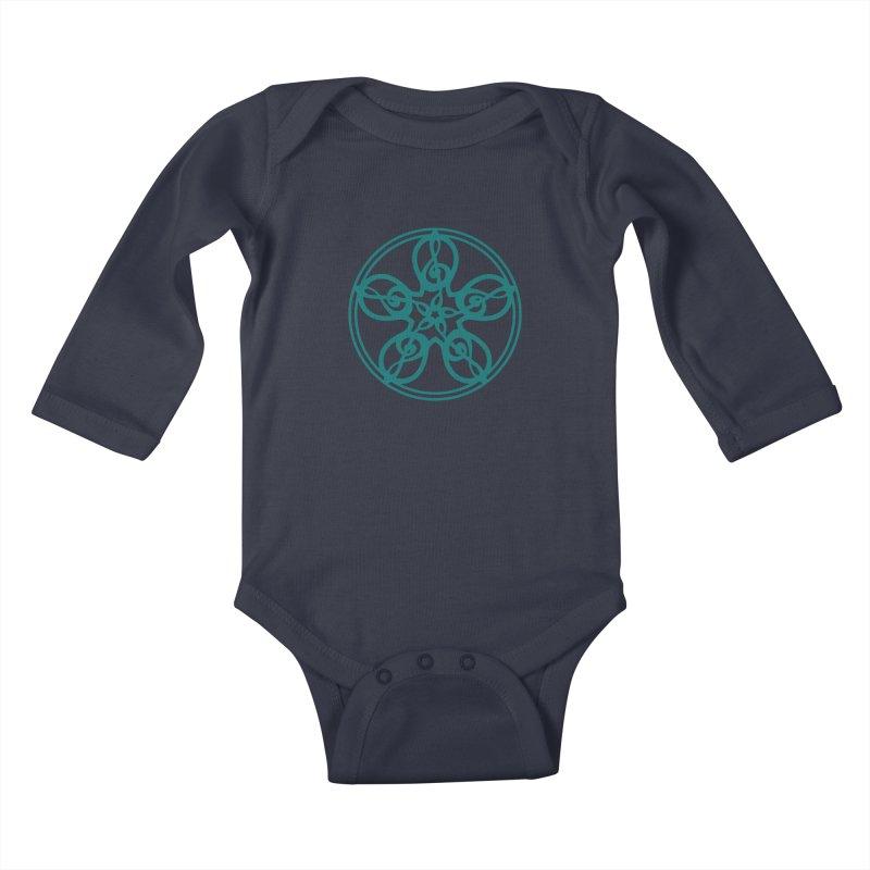 Treble Clef Mandala (teal) Kids Baby Longsleeve Bodysuit by Felix Culpa Designs