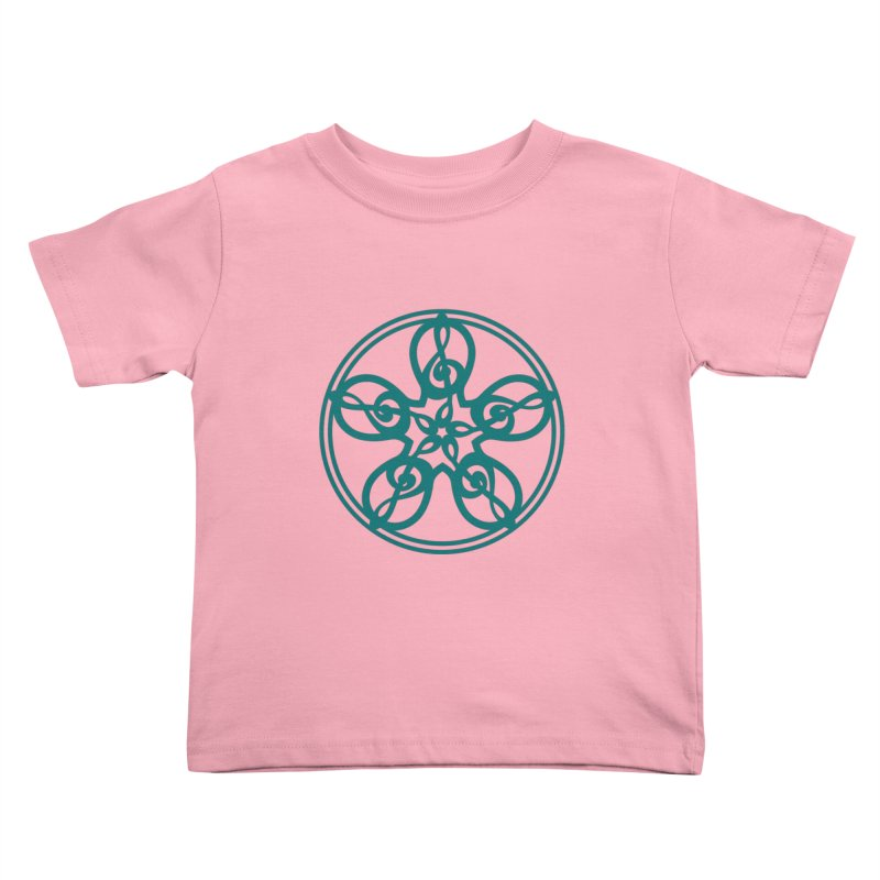 Treble Clef Mandala (teal) Kids Toddler T-Shirt by Felix Culpa Designs