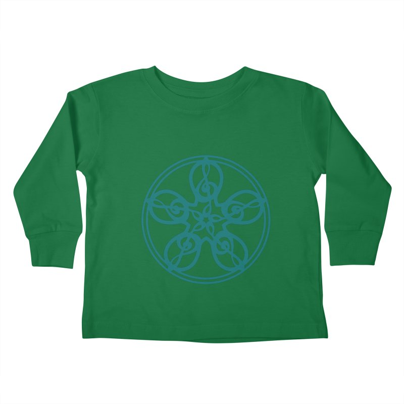 Treble Clef Mandala (teal) Kids Toddler Longsleeve T-Shirt by Felix Culpa Designs
