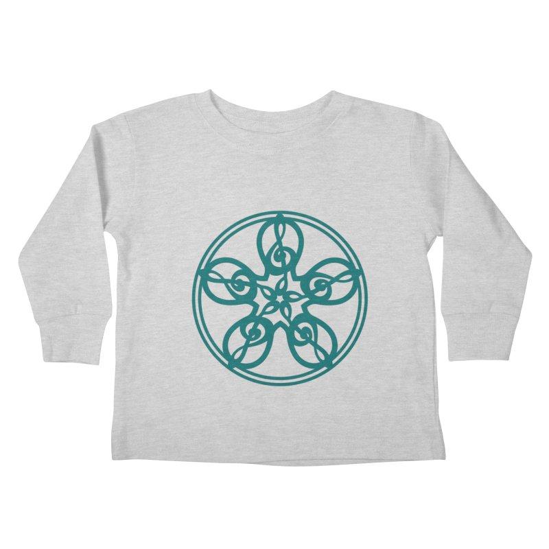 Treble Clef Mandala (teal) Kids Toddler Longsleeve T-Shirt by Felix Culpa Designs
