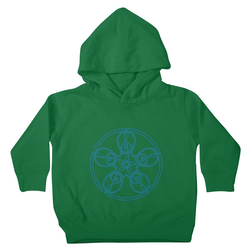 Treble Clef Mandala (teal) Kids Toddler Pullover Hoody by Felix Culpa Designs