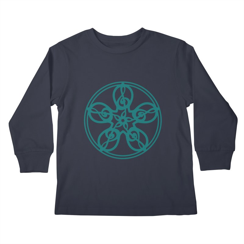Treble Clef Mandala (teal) Kids Longsleeve T-Shirt by Felix Culpa Designs