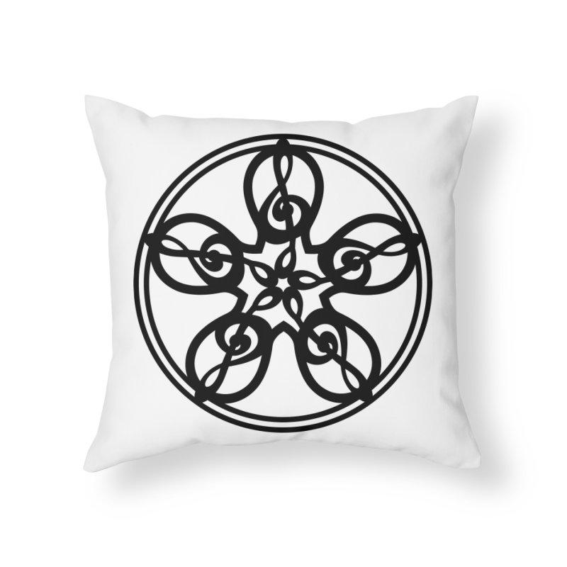 Celtic Clef Mandala (black) Home Throw Pillow by Felix Culpa Designs