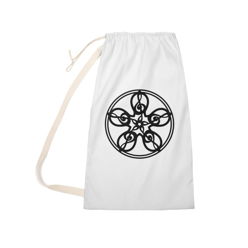 Treble Clef Mandala (black) Accessories Laundry Bag Bag by Felix Culpa Designs