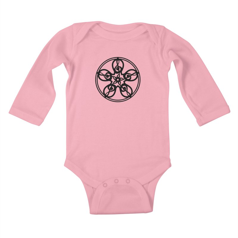 Celtic Clef Mandala (black) Kids Baby Longsleeve Bodysuit by Felix Culpa Designs