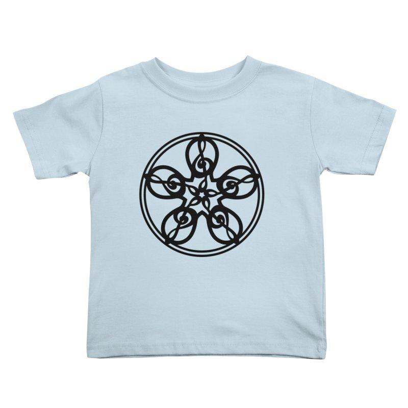 Celtic Clef Mandala (black) Kids Toddler T-Shirt by Felix Culpa Designs
