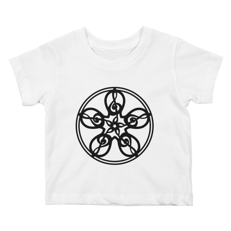 Celtic Clef Mandala (black) Kids Baby T-Shirt by Felix Culpa Designs