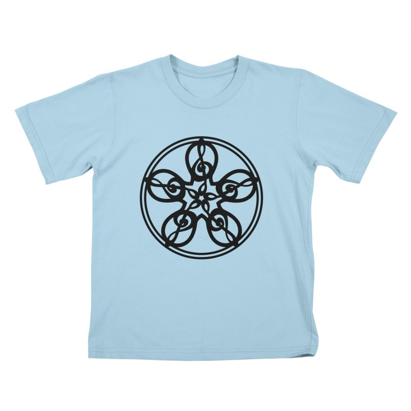 Celtic Clef Mandala (black) Kids T-Shirt by Felix Culpa Designs
