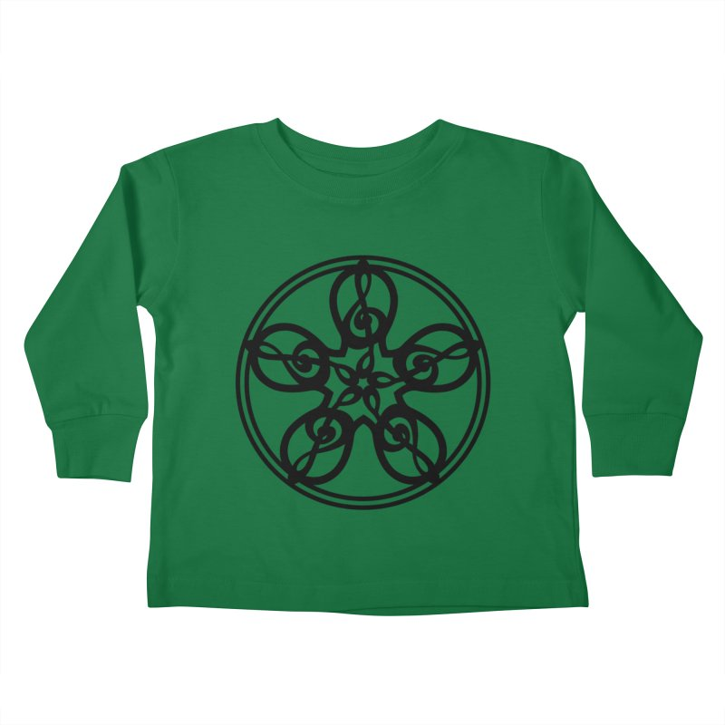 Celtic Clef Mandala (black) Kids Toddler Longsleeve T-Shirt by Felix Culpa Designs