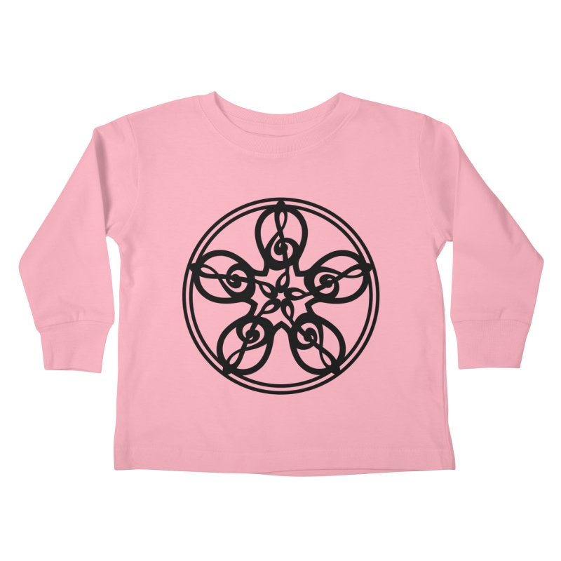Celtic Clef Mandala (black) Kids Toddler Longsleeve T-Shirt by Felix Culpa Designs