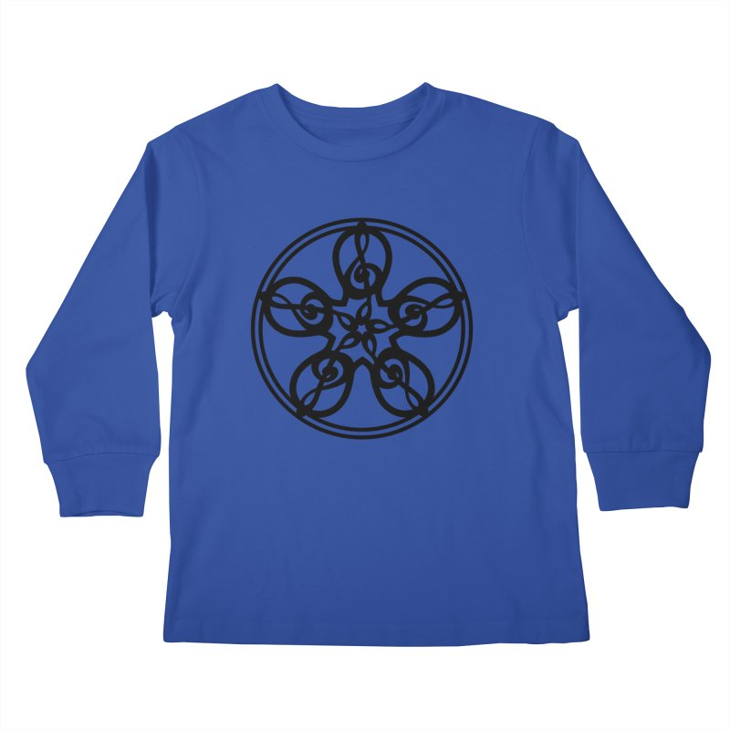 Celtic Clef Mandala (black) Kids Longsleeve T-Shirt by Felix Culpa Designs