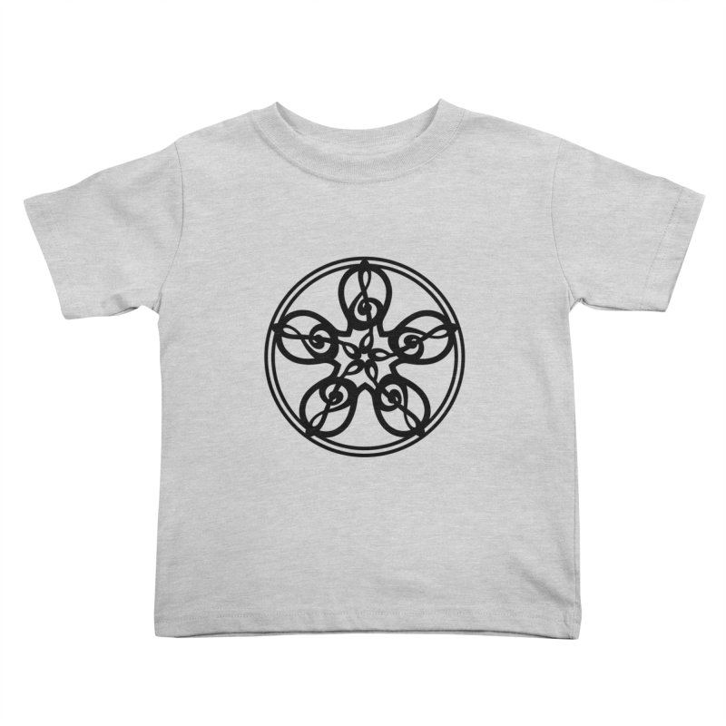 Treble Clef Mandala (black) Kids Toddler T-Shirt by Felix Culpa Designs