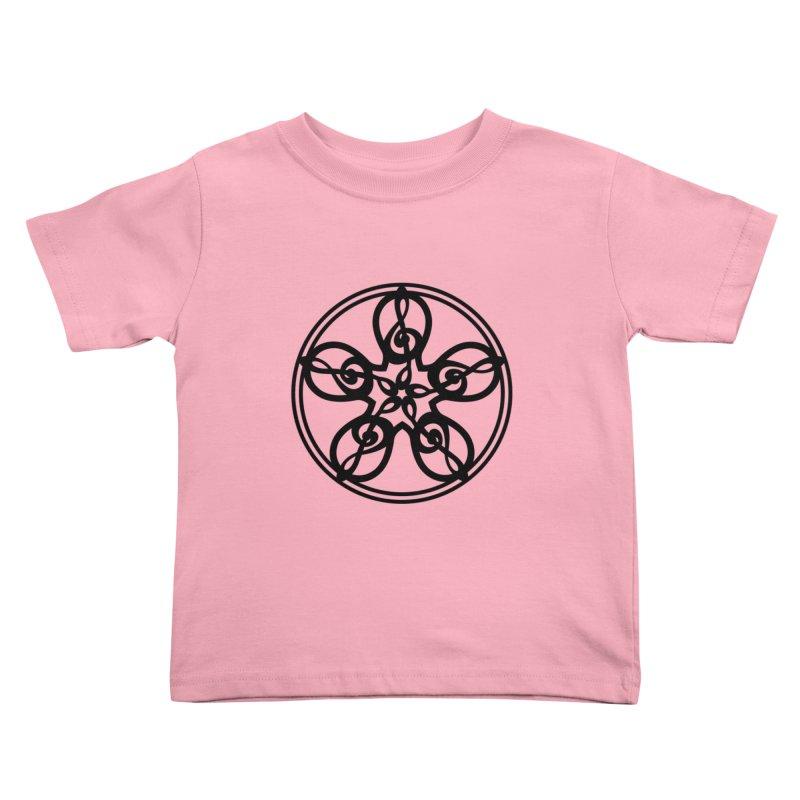 Treble Clef Mandala (black) Kids Toddler T-Shirt by Felix Culpa Designs