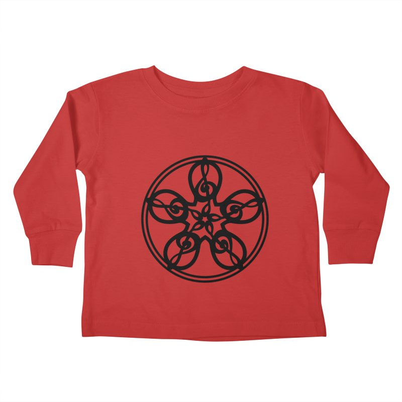 Treble Clef Mandala (black) Kids Toddler Longsleeve T-Shirt by Felix Culpa Designs