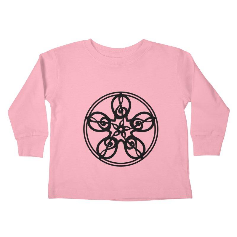 Treble Clef Mandala (black) Kids Toddler Longsleeve T-Shirt by Felix Culpa Designs
