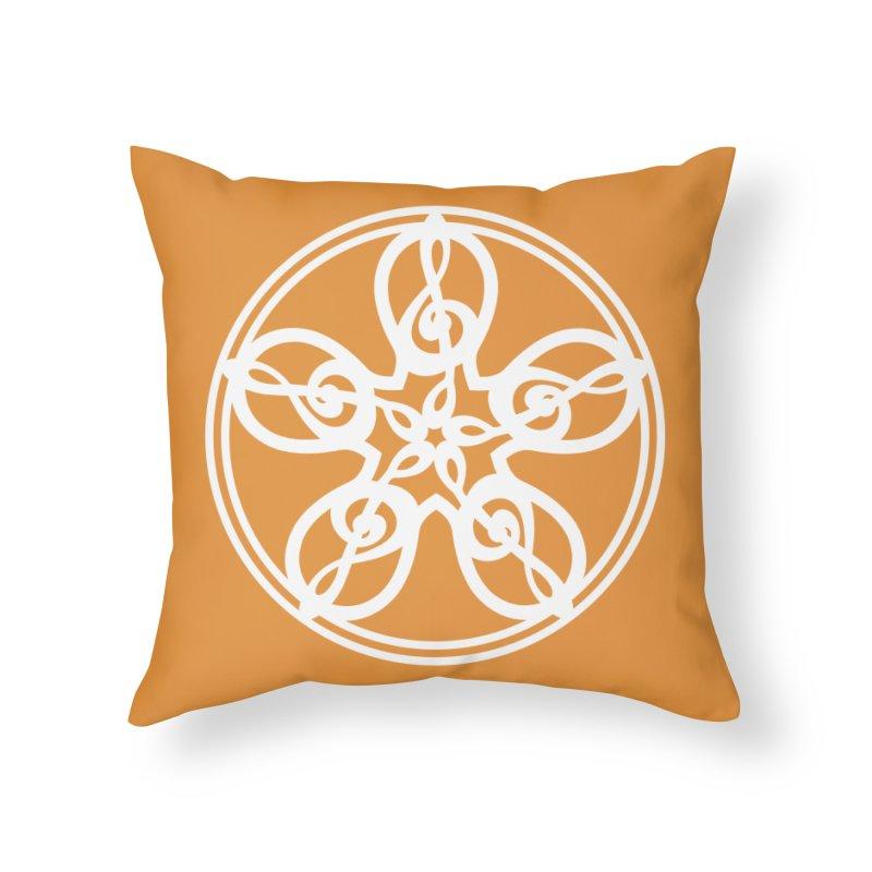 Celtic Clef Mandala (white) Home Throw Pillow by Felix Culpa Designs