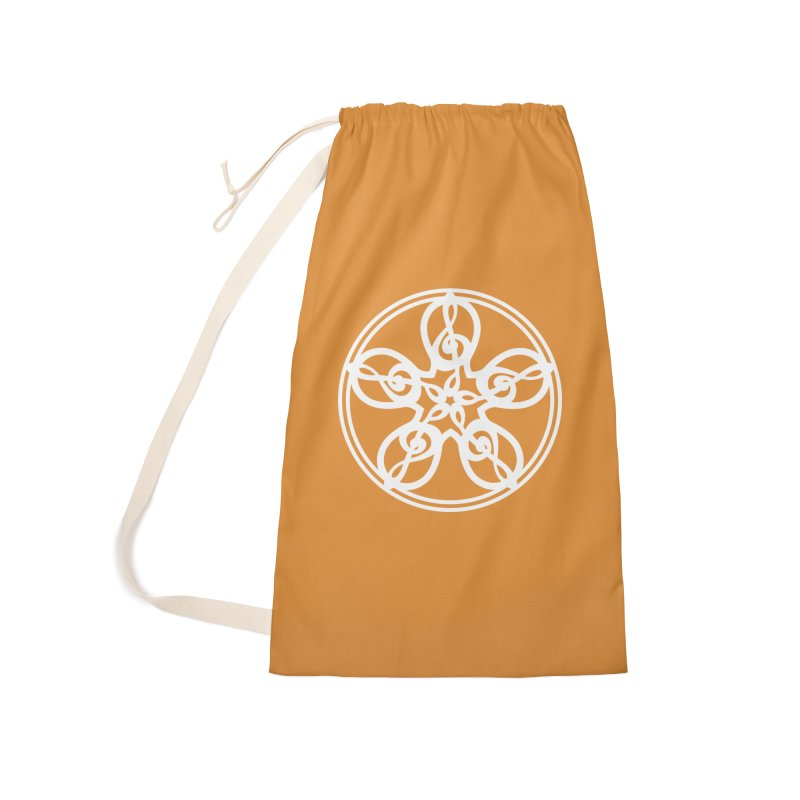 Treble Clef Mandala (white) Accessories Laundry Bag Bag by Felix Culpa Designs