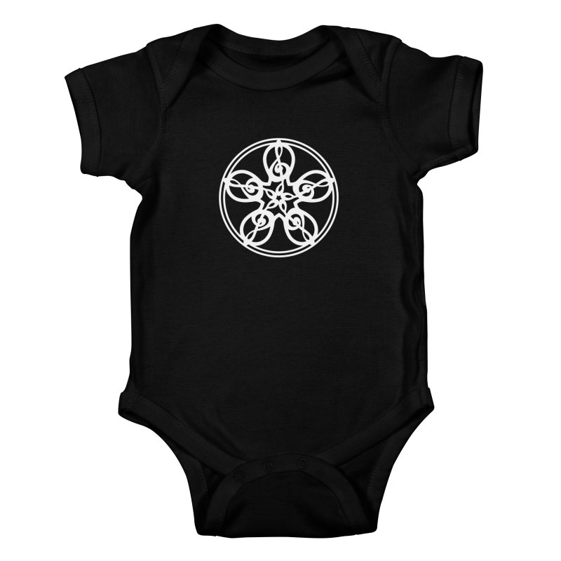 Celtic Clef Mandala (white) Kids Baby Bodysuit by Felix Culpa Designs