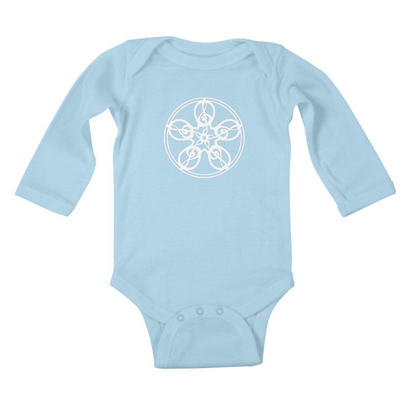Celtic Clef Mandala (white) Kids Baby Longsleeve Bodysuit by Felix Culpa Designs