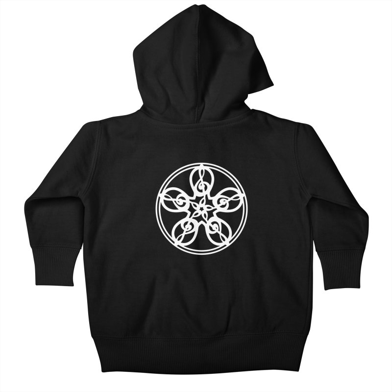 Celtic Clef Mandala (white) Kids Baby Zip-Up Hoody by Felix Culpa Designs