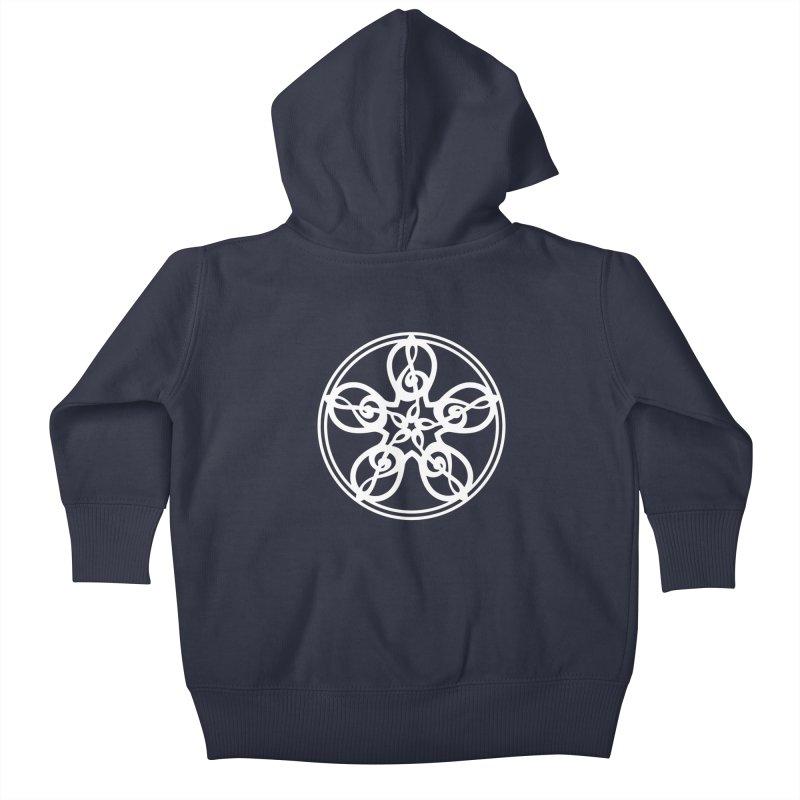 Celtic Clef Mandala (white) Kids Baby Zip-Up Hoody by Felix Culpa Designs