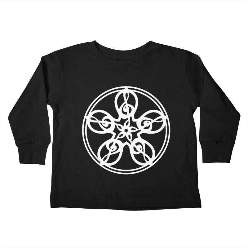 Celtic Clef Mandala (white) Kids Toddler Longsleeve T-Shirt by Felix Culpa Designs