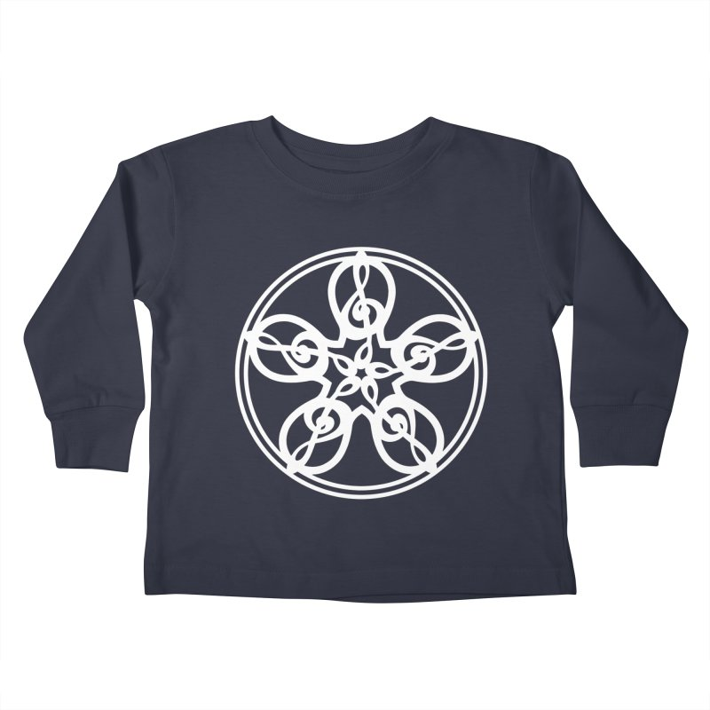 Celtic Clef Mandala (white) Kids Toddler Longsleeve T-Shirt by Felix Culpa Designs