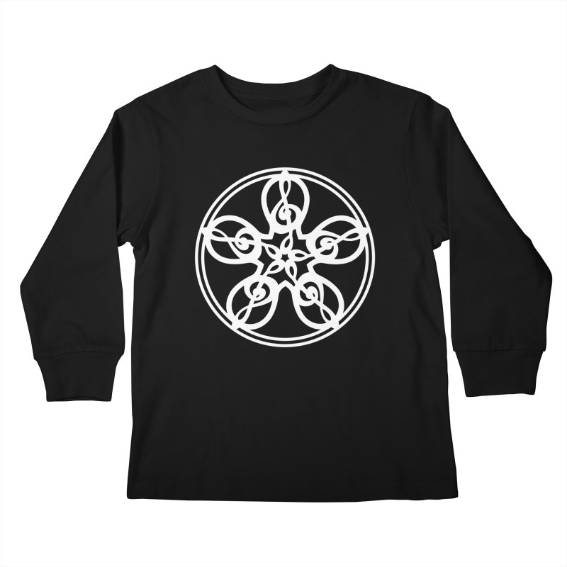 Celtic Clef Mandala (white) Kids Longsleeve T-Shirt by Felix Culpa Designs
