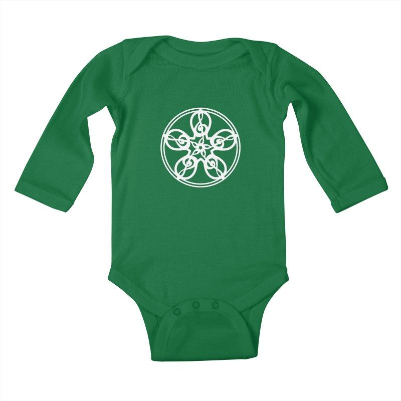 Treble Clef Mandala (white) Kids Baby Longsleeve Bodysuit by Felix Culpa Designs