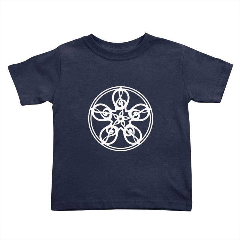 Treble Clef Mandala (white) Kids Toddler T-Shirt by Felix Culpa Designs