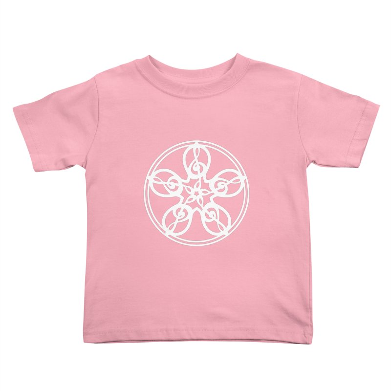 Treble Clef Mandala (white) Kids Toddler T-Shirt by Felix Culpa Designs