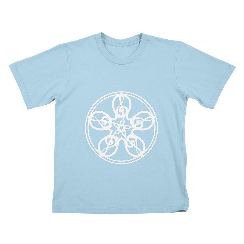 Treble Clef Mandala (white) Kids T-Shirt by Felix Culpa Designs