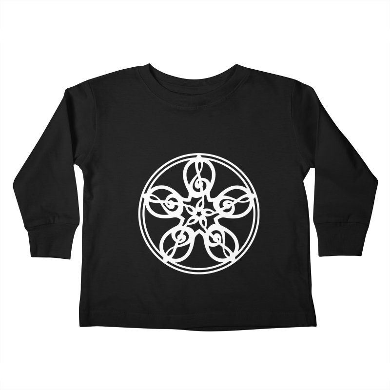 Treble Clef Mandala (white) Kids Toddler Longsleeve T-Shirt by Felix Culpa Designs