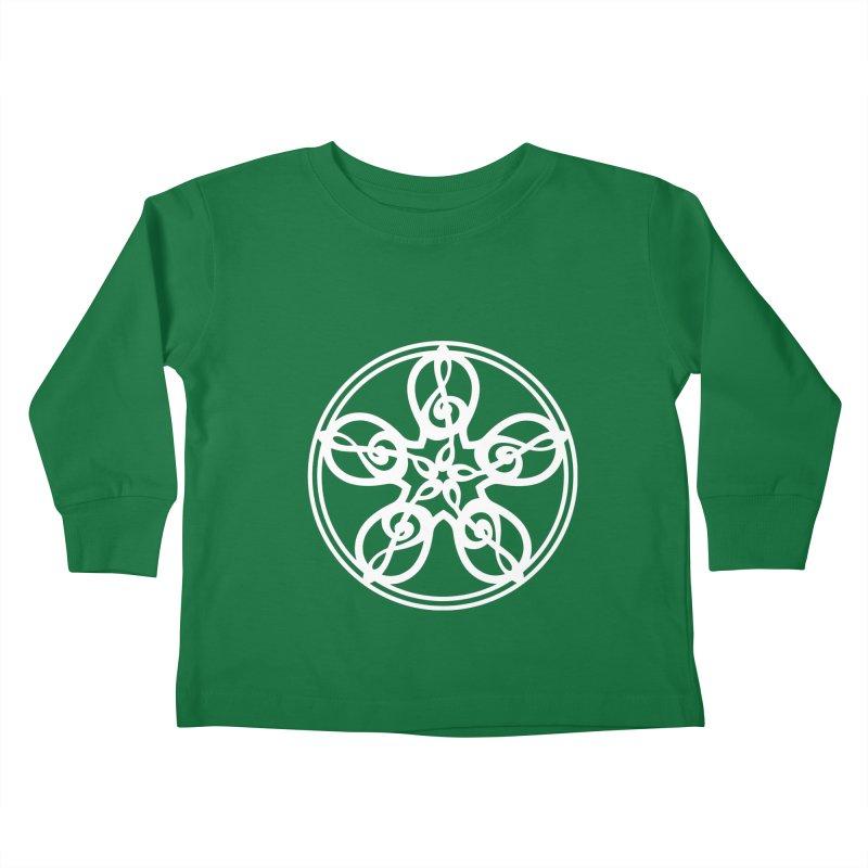 Treble Clef Mandala (white) Kids Toddler Longsleeve T-Shirt by Felix Culpa Designs