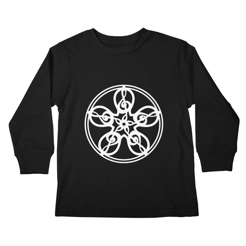 Treble Clef Mandala (white) Kids Longsleeve T-Shirt by Felix Culpa Designs