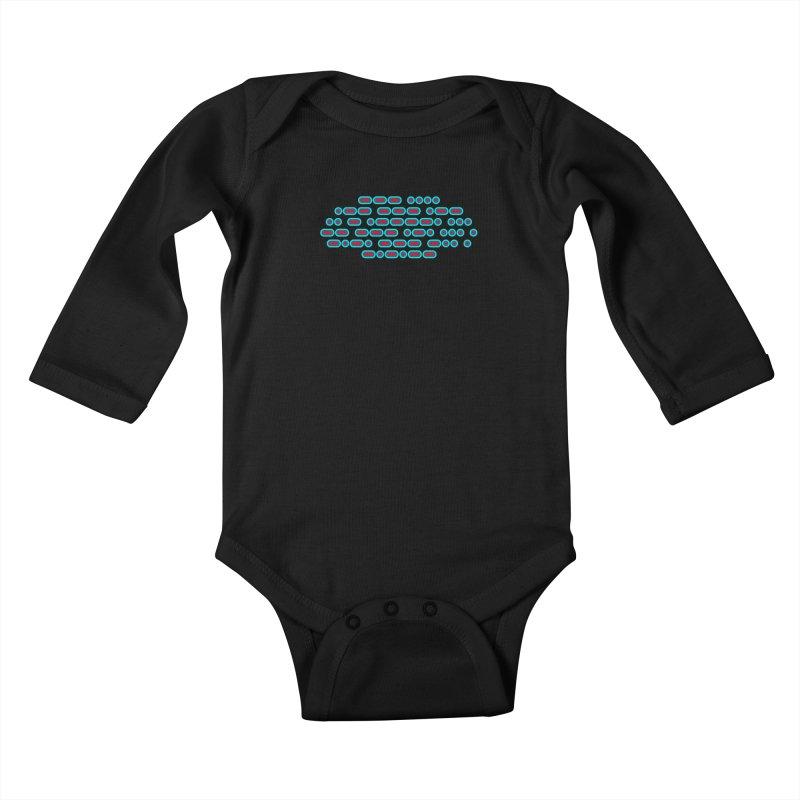 OH WOW IT'S MORSE CODE! (red/blue) Kids Baby Longsleeve Bodysuit by Felix Culpa Designs