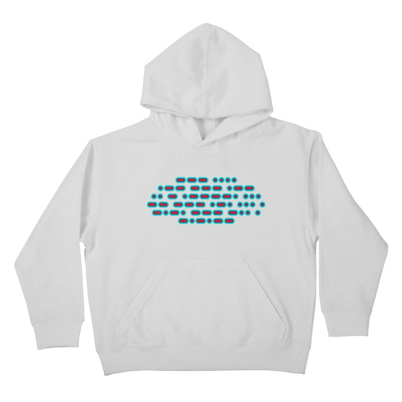 OH WOW IT'S MORSE CODE! (red/blue) Kids Pullover Hoody by Felix Culpa Designs