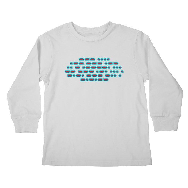 OH WOW IT'S MORSE CODE! (red/blue) Kids Longsleeve T-Shirt by Felix Culpa Designs