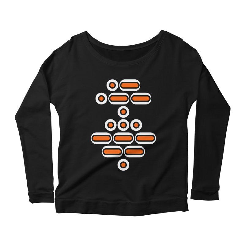 AWESOME (orange/black/white) Women's Scoop Neck Longsleeve T-Shirt by Felix Culpa Designs