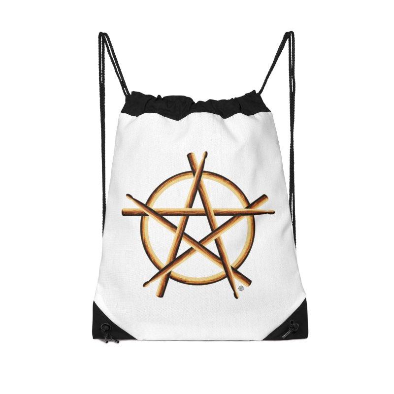 Pagan Drummer Accessories Drawstring Bag Bag by Felix Culpa Designs