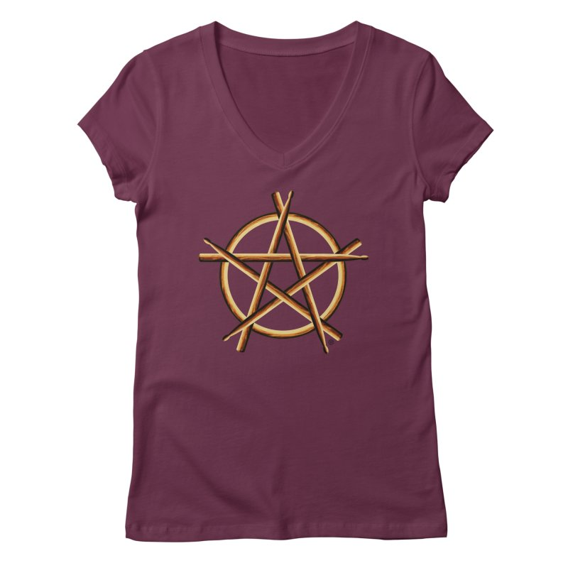 PAGAN DRUMMER Women's Regular V-Neck by Felix Culpa Designs