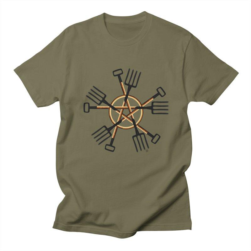 Pagan Gardener in Men's Regular T-Shirt Olive by Felix Culpa Designs