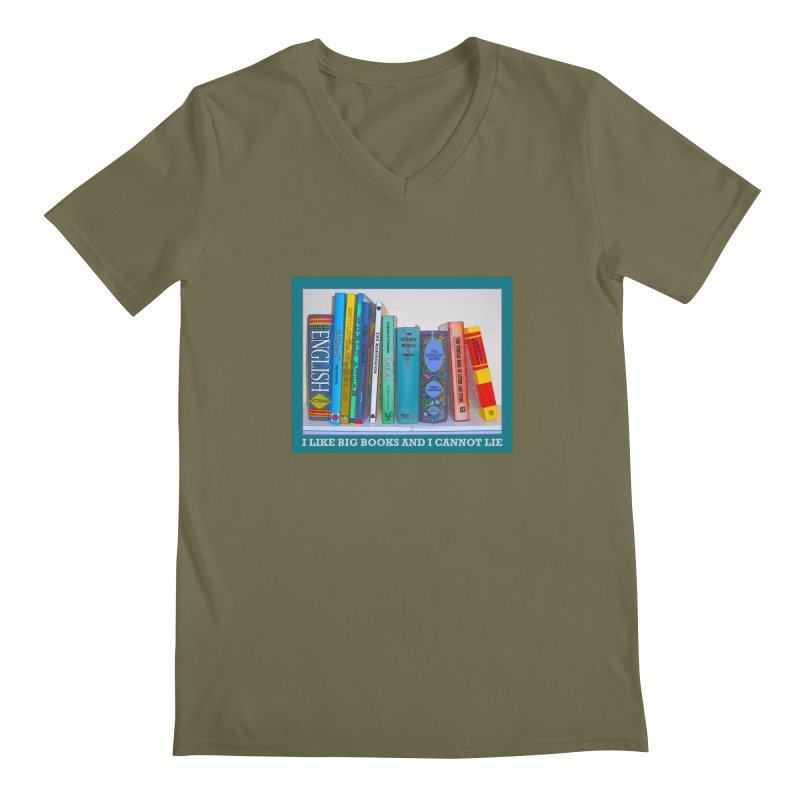 I LIKE BIG BOOKS... Men's Regular V-Neck by Felix Culpa Designs