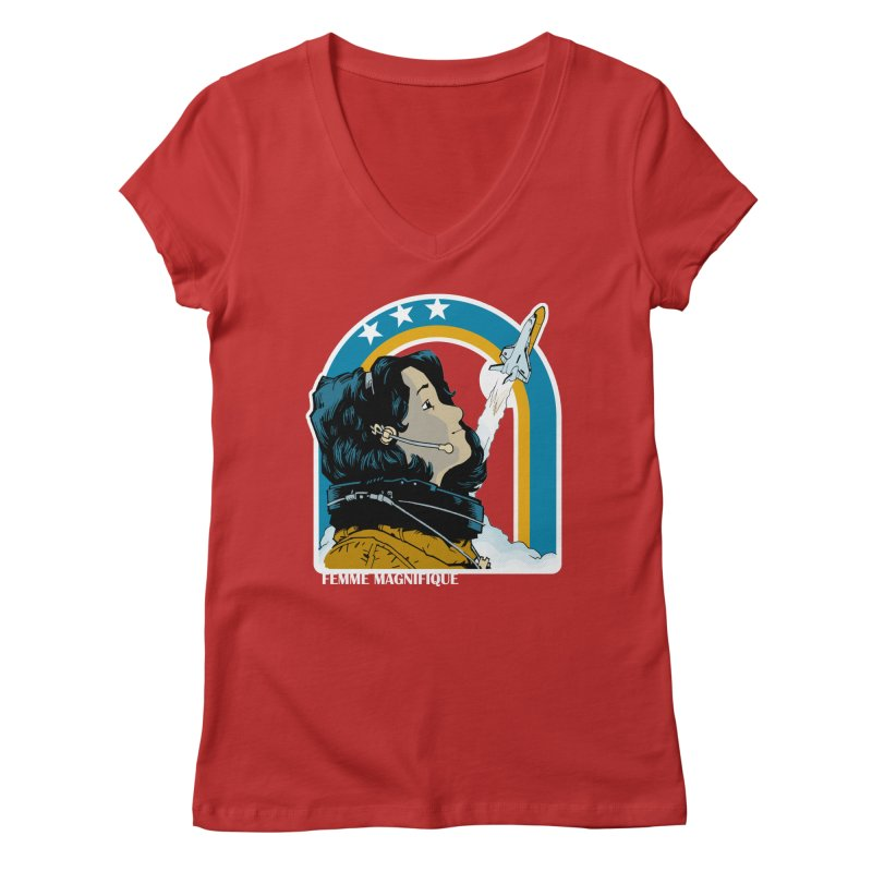 Astronaut Magnifique Women's V-Neck by Femme Magnifique
