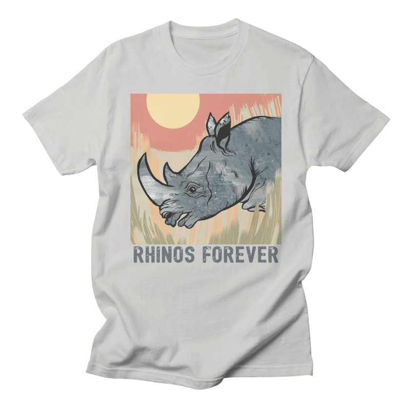 Rhinos Forever Men's T-Shirt by Feral Pony